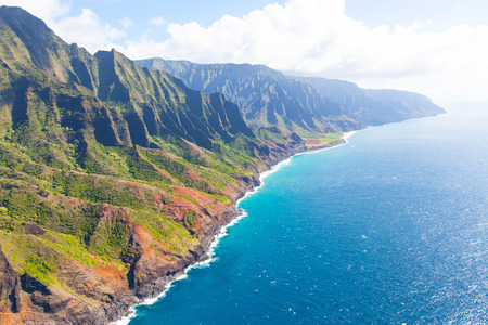 aerial view from helicopter at gorgeous na pali coast at kauai island, hawaii