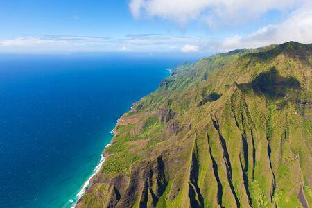 ridge of wave: breathtaking aerial view from helicopter at na pali coast, kauai island, hawaii
