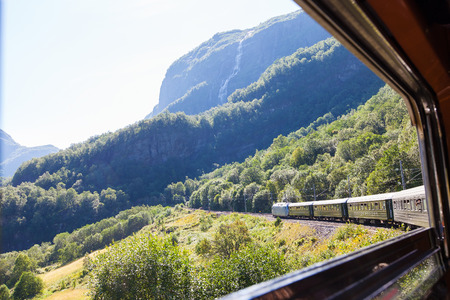 view from window at the train and beautiful nature of norway