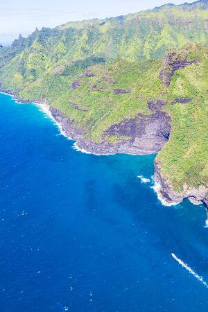 na: aerial view at na pali coast at kauai island, hawaii