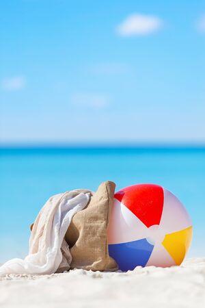 beach ball, beach bag and scarf - vacation concept