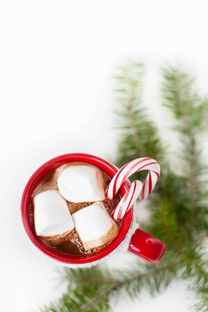 holiday home: cup with hot chocolate with marshmallows and candy canes - christmas time dessert and christmas tree branch Stock Photo