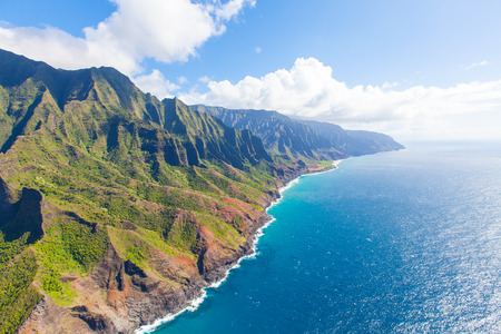 ridge of wave: view of beautiful na pali coast at kauai island, hawaii from helicopter