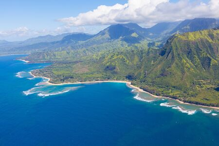 pacific ocean: view of beautiful na pali coast at kauai island, hawaii from helicopter