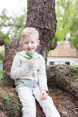 jungle boy: active smiling boy sitting on the tree branch
