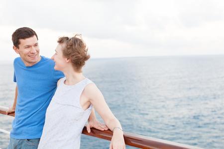caribbean cruise: young loving couple enjoying caribbean cruise together Stock Photo