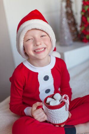hot boy: little smiling boy in santas hat holding cup with hot chocolate at christmas time Stock Photo