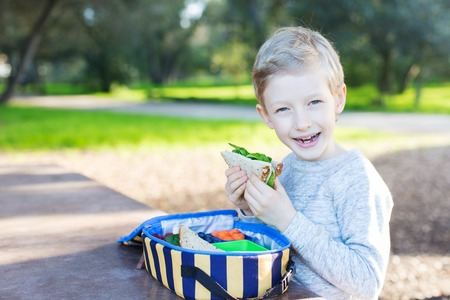 recess: cheerful schoolboy eating healthy lunch during recess at school Stock Photo