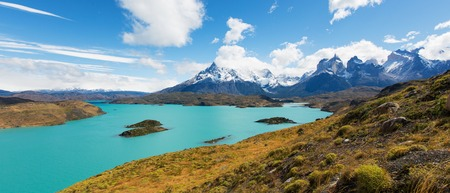 torres del paine: amazing panorama view at cuernos del paine and pehoe lake in torres del paine national park, patagonia, chile