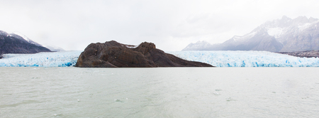torres del paine: panorama view of both tongues of glacier grey in torres del paine national park, patagonia, chile