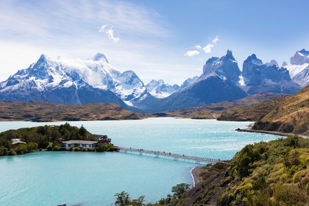 torres del paine: beautiful view at lake pehoe and cuernos del paine in torres del paine national park, patagonia, chile Stock Photo