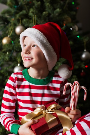 young tree: joyful smiling child in santas hat holding nicely wrapped present and candy canes and being cozy at home and enjoying christmas time by the tree and decorations waiting for a miracle Stock Photo
