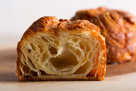delicious and sweet kouign amann, traditional breton pastry, sliced Stock Photo