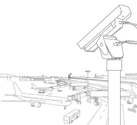 aeropuerto Ilustración de contorno de cámaras de seguridad