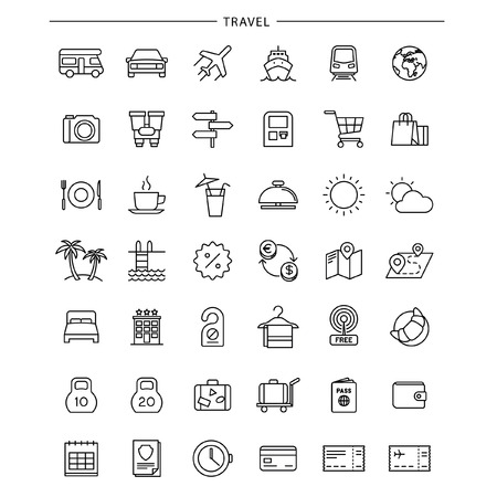 Outline Travel Icons Vecteurs