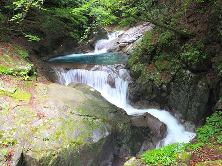 Nishizawa ravine triple falls Banque d'images