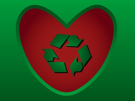recycling symbol shiny red heart inside