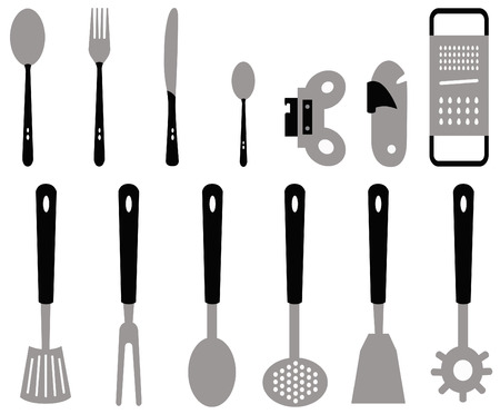 different types of cutlery for the kitchen created with vectors