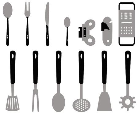 verschillende soorten bestek voor de keuken gemaakt met vectoren Stock Illustratie
