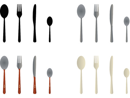 eating utensil: Cutlery vectors created by simulating the metal, plastic and wood