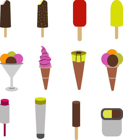 different types of ice cream in various flavors Vector