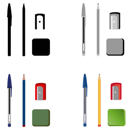 different objects associated with writing create in vector
