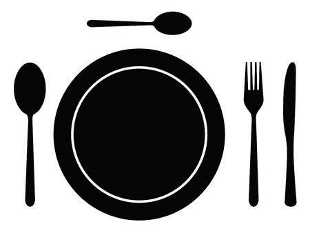 cuchara y tenedor: Cuchara de cuchiller�a completo, horquilla, cuchillo y la placa Vectores