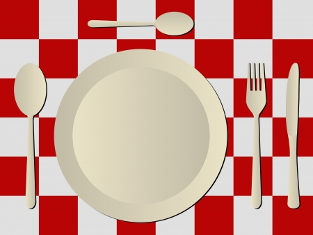 plastic covers over red and white tablecloth