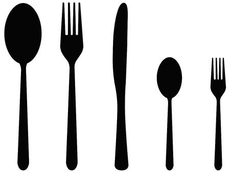 cuchillo y tenedor: siluetas de cinco cubiertas incluyendo cuchara, tenedor y cuchillo