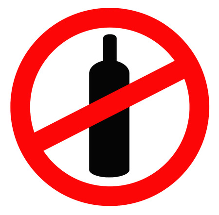 banned: bottle of alcohol in prohibition signal