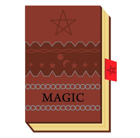 brown color book with magic symbols representing Illustration