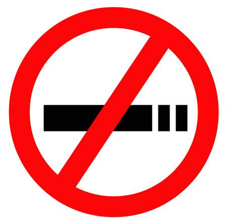 geen teken van roken in rood met een witte achtergrond en zwart silhouet