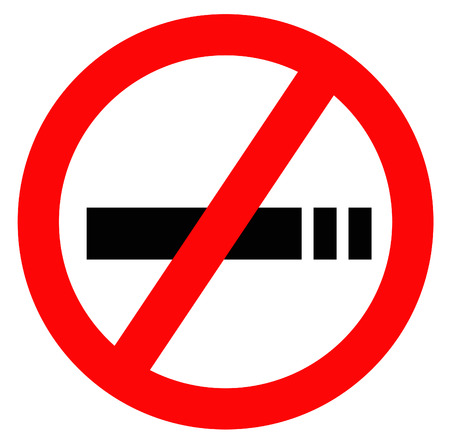 no smoking sign in red with white background and black silhouette Vector