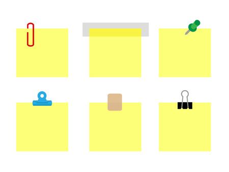 gele papieren notities bijeen wordt gehouden door verschillende stationaire objecten