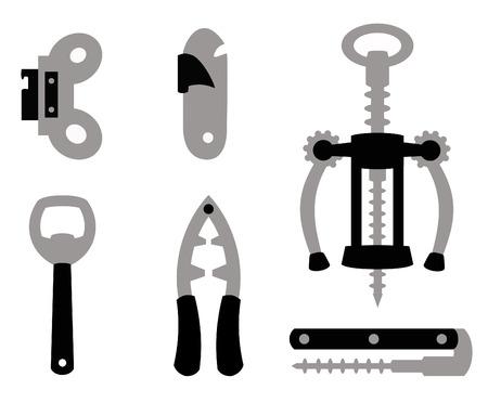latas: diferentes objetos para abrir otros objetos en negro y gris