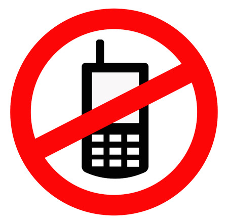 black silhouette of a mobile signal within a prohibited