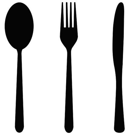 cuchara y tenedor: cuchara y tenedor y cuchillo establecen en negro
