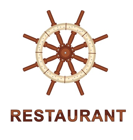 wor: Illustrate boat helm steering wheel with the wor restaurant isolate against a white background.