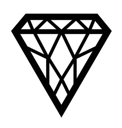 ダイヤモンド: ブラックは、ダイヤモンドの形、白い背景で隔離の面でのシルエット