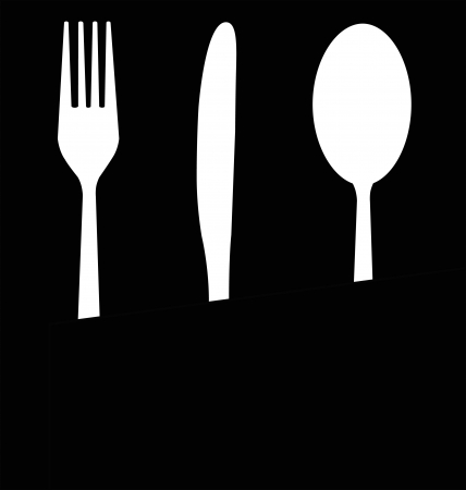 A black and white illustration of parts of white eating utensils on a black background
