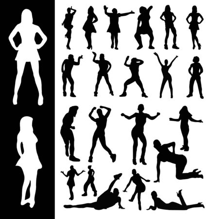 computer dancing: Silhouettes of woman moving and dancing