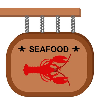 drawing wooden sign with a red lobster