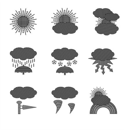 tornadoes: drawings and symbols on the time in black and white