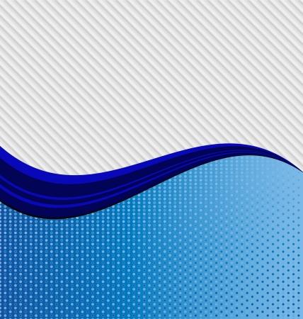 Een abstracte blauwe golf verdelen twee verschillende texturen van de diagonale strepen en stippen.