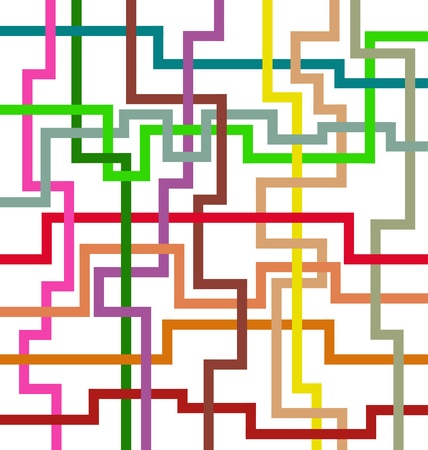 Artistic design with intersecting geometric lines of various colors.