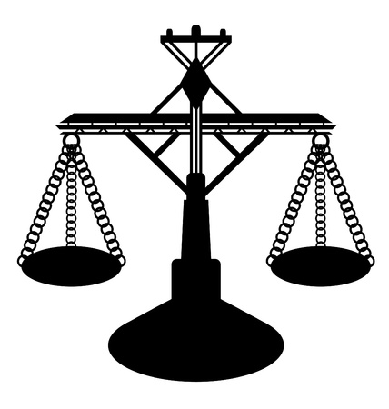 weighing: Black silhouetted weighing scales or sales of justice; isolated on white background.