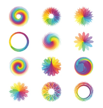 Een set of een collage van verschillende kleurrijke, abstracte ontwerpen of patronen. Stock Illustratie