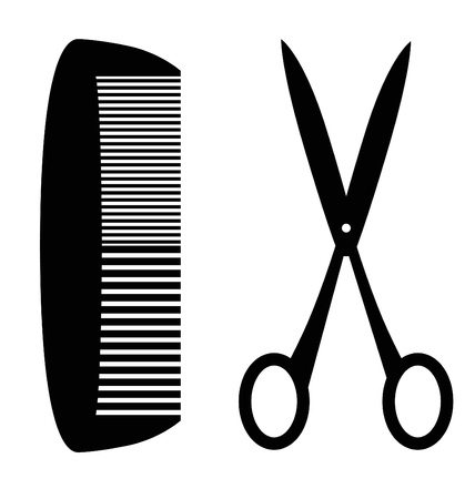 items: Black silhouette of comb and scissors; white studio background.