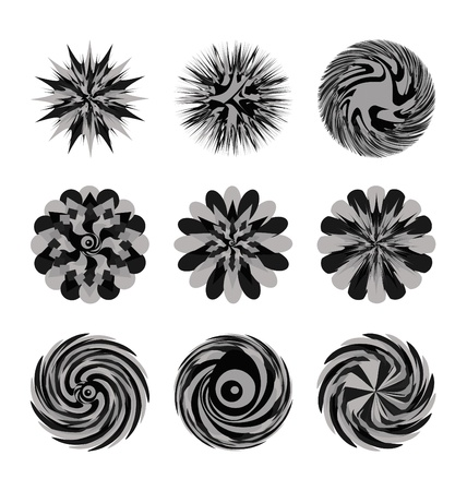Illustrated decorative set of circular floral shapes and swirling designs; white background.