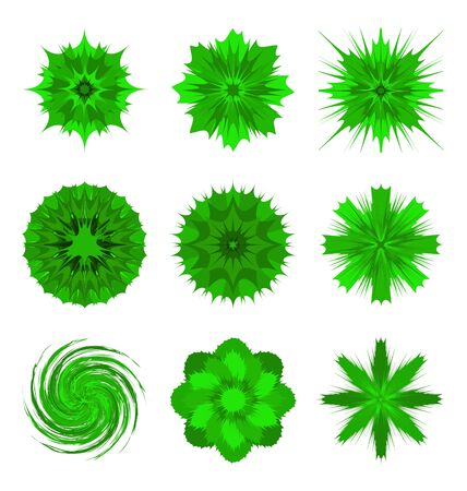 mandalas: Illustrations of green flower shapes isolated on white